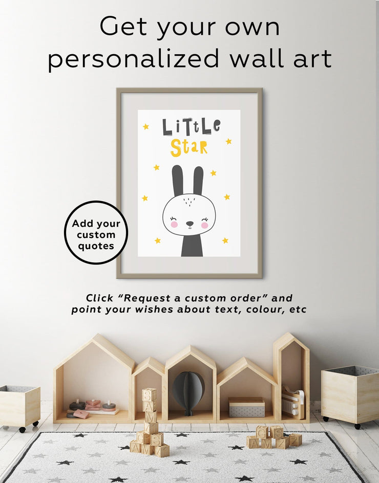 Framed Bunny Wall Art Print - Wall Art black black and white framed print Kids room kids wall art