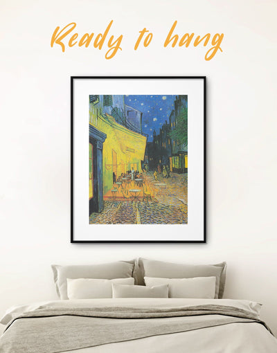 Framed Café Terrace at Night Van Gogh Wall Art Print - art gallery wall bedroom Blue framed print Living Room
