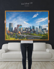 Framed Calgary City Skyline Wall Art Canvas