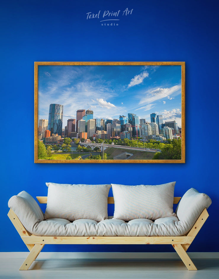 Framed Calgary City Skyline Wall Art Canvas - bedroom Blue blue and green wall art City Skyline Wall Art Cityscape