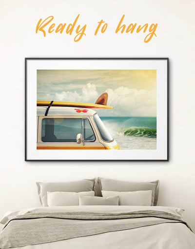 Framed Camper Van Wall Art Print - Beach House beach wall art bedroom Car coastal wall art