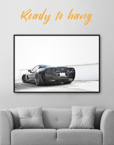 Framed Chic Chevrolet Wall Art Canvas - bachelor pad black and grey wall art black and white wall art car framed canvas