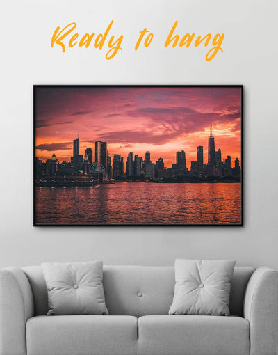 Framed Chicago Skyline at Night Wall Art Canvas - Canvas Wall Art bedroom City Skyline Wall Art Cityscape Dining room framed canvas