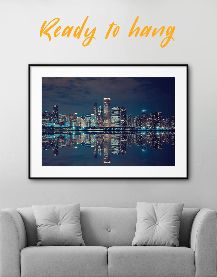 Framed Chicago Skyline Print - Wall Art bedroom City Skyline Wall Art Cityscape framed print Hallway