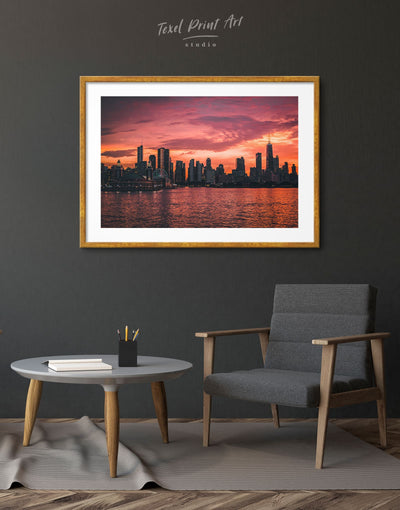 Framed Chicago Skyline Print Wall Art - Wall Art bedroom City Skyline Wall Art Cityscape Dining room framed print