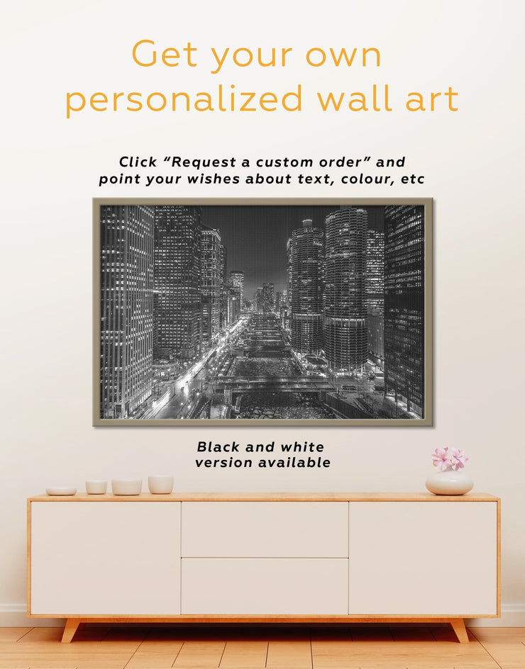 Framed City Lights Wall Art Canvas - bedroom city skyline wall art Cityscape framed canvas Living Room