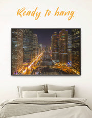 Framed City Lights Wall Art Canvas