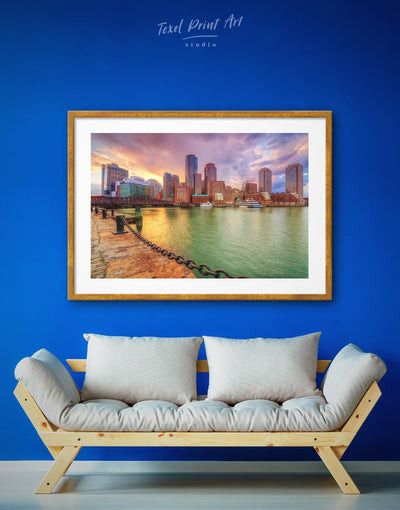 Framed City of Boston Wall Art Print - bedroom Boston Cityscape Dining room framed print