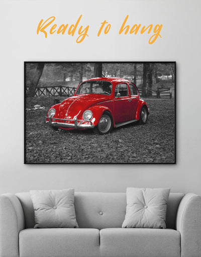 Framed Classic Beetle Car Wall Art Canvas - bachelor pad car framed canvas garage wall art Grey