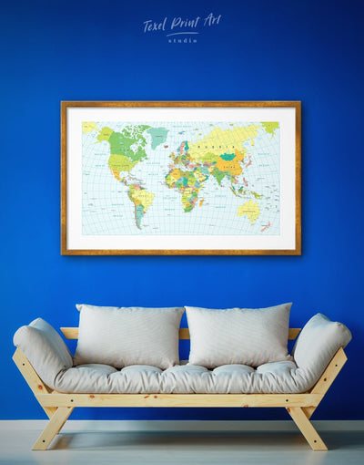 Framed Classic Green World Map Wall Art Print - Blue blue and green wall art framed map wall art framed print framed wall art