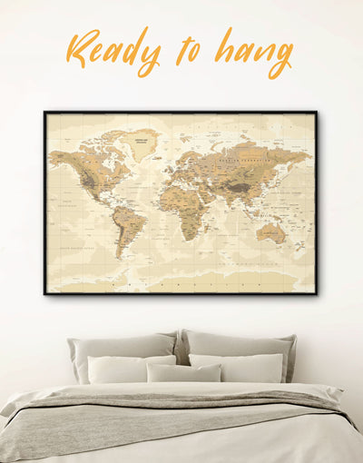 Framed Classic Pushpin Map Wall Art Canvas - bedroom Brown framed canvas framed world map canvas Living Room
