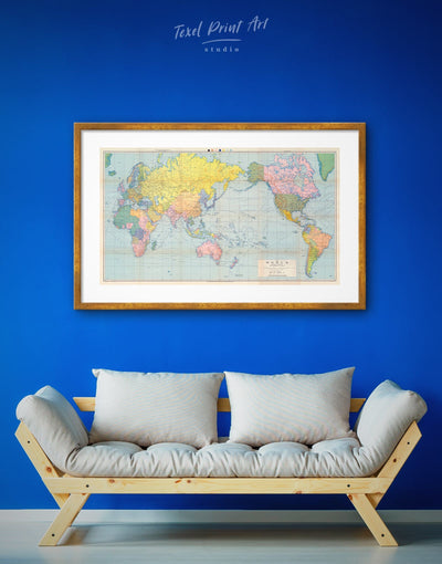 Framed Classic World Map Wall Art Print - bedroom framed framed map wall art framed print framed wall art for living room