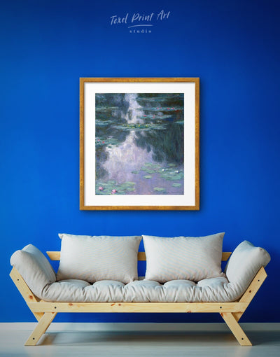Framed Claud Monet Water Lillies Wall Art Print - art gallery wall bedroom Blue Claud Monet framed