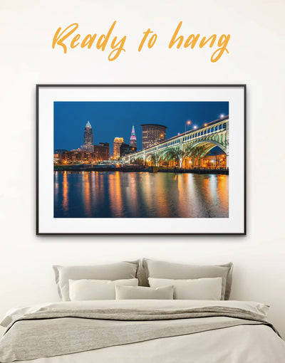 Framed Cleveland City Wall Art Print - bedroom City Skyline Wall Art Cityscape cleveland wall art framed print