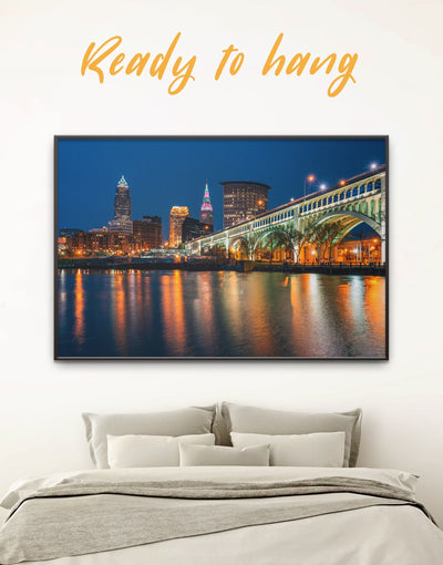 Framed Cleveland Cityscape Wall Art Canvas - bedroom City Skyline Wall Art Cityscape cleveland wall art framed canvas
