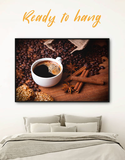 Framed Coffee Bean Wall Art Canvas - Brown Dining room framed canvas Kitchen