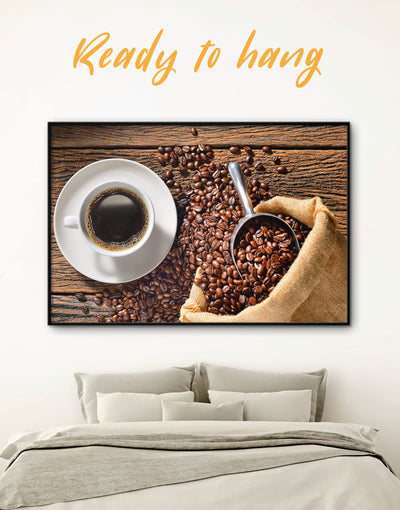 Framed Coffee Wall Art Canvas - Brown Dining room framed canvas Kitchen