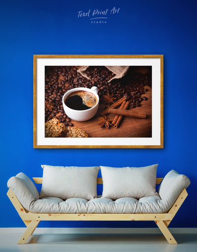 Framed Coffee Wall Art Print - Brown Dining room framed print Kitchen