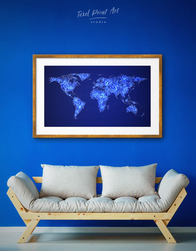 Framed Cold Blue Geometric World Map Wall Art Print - Abstract map Blue Blue Abstract Wall art framed print framed world map print
