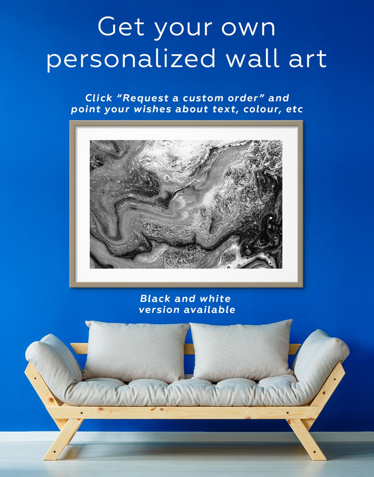Framed Cold Geode Wall Art Print - Abstract bedroom blue blue and white Blue wall art for living room