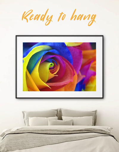 Framed Colored Rose Petals Wall Art Print - bedroom blue flora Floral flower