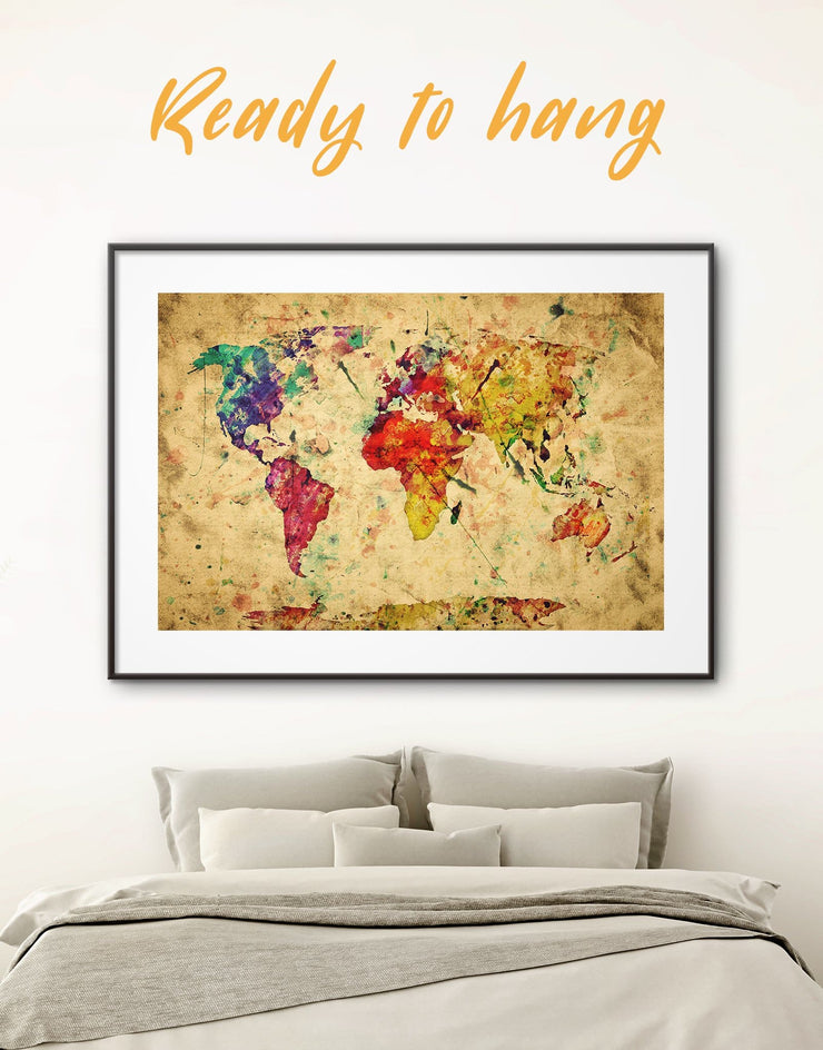 Framed Colorful Abstract World Map Wall Art Print - Abstract Abstract map abstract world map wall art framed abstract wall art framed map
