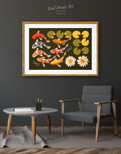Framed Colorful Koi Fish Wall Art Print - bedroom Black framed print Hallway japanese wall art