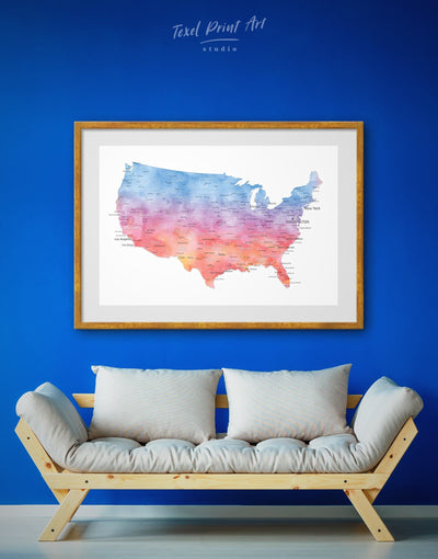 Framed Colorful Map of the USA Wall Art Print - bedroom Blue blue and white contemporary wall art Country Map
