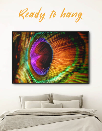 Framed Colorful Peacock Feather Wall Art Canvas - Abstract bedroom bird wall art Dining room Feather Wall Art