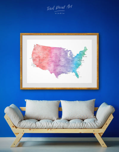 Framed Colorful USA Map Wall Art Print - bedroom Blue blue and white contemporary wall art Country Map