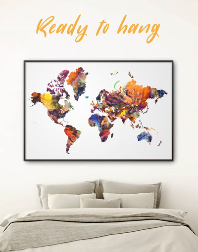 Framed Colorful Wall Art Canvas - Abstract Abstract map abstract world map wall art bedroom Brown