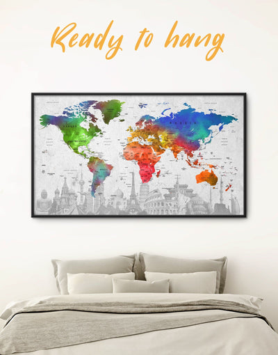 Framed Colorful World Map Wall Art Canvas - corkboard framed canvas framed map wall art framed wall art framed wall art for living room