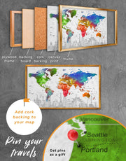 Framed Colorful World Map Wall Art Canvas