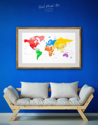 Framed Colorful World Map Wall Art Print - bedroom blue contemporary wall art framed framed map wall art
