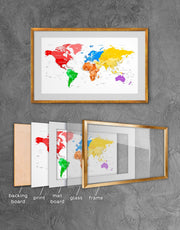 Framed Colorful World Map Wall Art Print