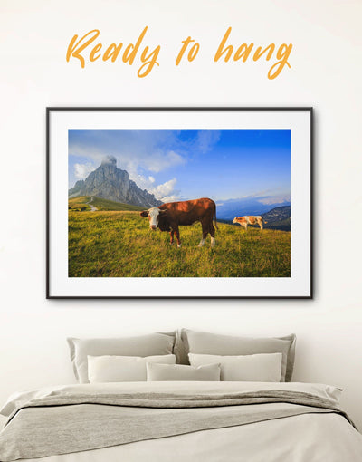 Framed Cow and Landscape Wall Art Print - Animal bedroom cow canvas wall art Farmhouse framed print