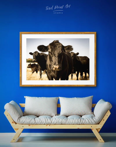 Framed Cow Animal Wall Art Print - Animal Animals Black cow canvas wall art Farmhouse