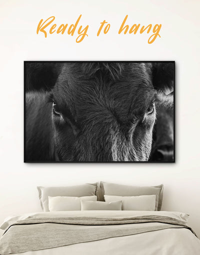Framed Cow Wall Art Canvas - Animals bedroom black and white wall art cow canvas wall art Farmhouse