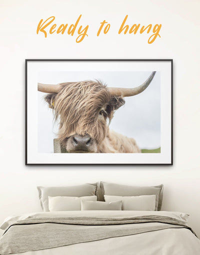 Framed Cow Wall Art Print - Animal bedroom cow canvas wall art Dining room dining room wall art