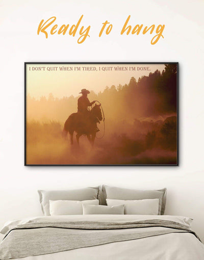 Framed Cowboy with a Motivation Quote Wall Art Canvas - bachelor pad bedroom brown Cowboy Dining room