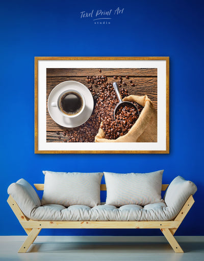 Framed Cup of Coffee Wall Art Print - Brown Dining room framed print Kitchen
