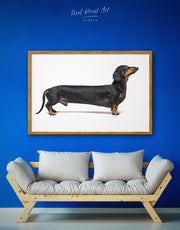 Framed Dachshund Wall Art Canvas