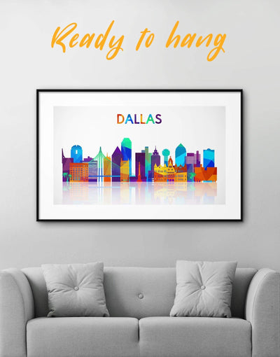 Framed Dallas Skyline Canvas Wall Art - Canvas Wall Art Abstract bedroom City Skyline Wall Art Cityscape framed canvas