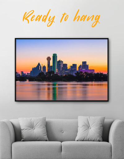 Framed Dallas Skyline Wall Art Canvas - Canvas Wall Art bedroom City Skyline Wall Art Cityscape dallas wall art framed canvas