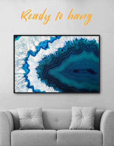 Framed Dark Blue Geode Wall Art Canvas - Abstract bedroom blue blue and white Blue wall art for living room