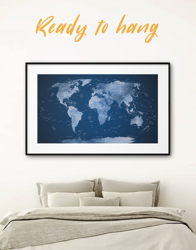 Framed Dark Blue World Map Wall Art Print - bedroom Blue Blue wall art for living room contemporary wall art framed