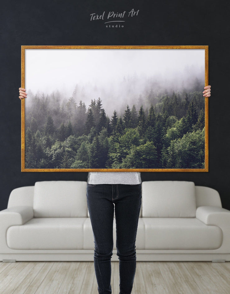 Framed Dark Forest Wall Art Canvas - bedroom forest wall art framed canvas Hallway landscape wall art