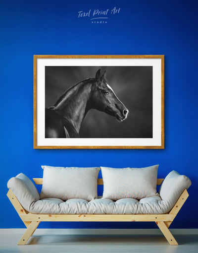 Framed Dark Horse Wall Art Print - Animal Animals bedroom Black Farmhouse