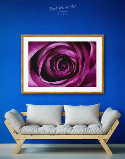 Framed Deep Purple Rose Wall Art Print - bedroom Dining room flora Floral flower
