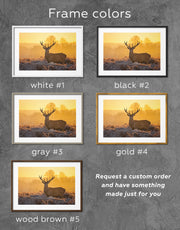 Framed Deer Animal Wall Art Print